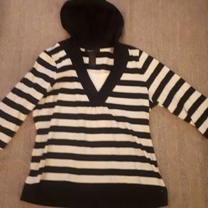 Style&Co B+W stripped hooded long sleeve shirt